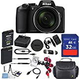 Nikon COOLPIX B600 Digital Camera (Black) with 32GB Memory, Camera Case, Spider Tripod & More Accessory Kit