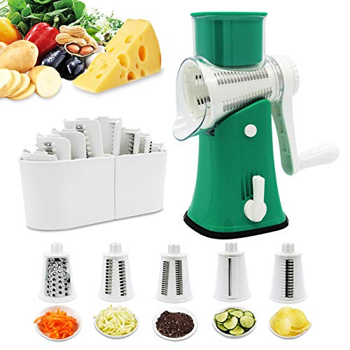 Rotary Cheese Graters Potato Slicer -VEKAYA5 in 1 Manual RoundVegetable Slicer Mandoline slicer,Julienne Shredder with Strong Suction Base forNuts Grinder,Onion,Cheese