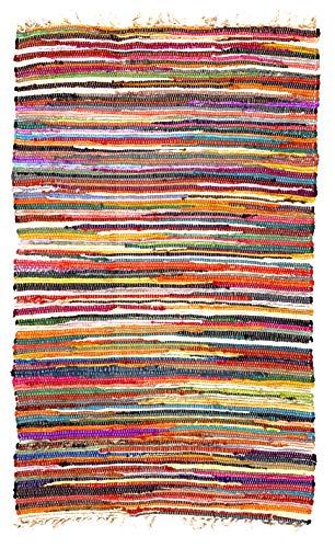 Second Nature Online Shanti - Alfombra de trapo chindi con flecos, multicolor, 150 cm x 150 cm