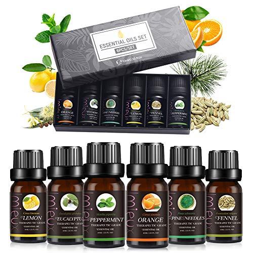 Ätherische Öle Set, Aromaöl, Essential Oil, für Aromatherapie Duftöl/Diffuser, Natürliches & Sicheres Eukalyptus, Zitronengras, Süßorange, Minze, Kiefernnadeln, Fenchel, 6X10 ml
