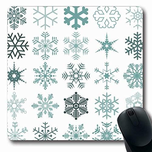 Mousepads Längliche Form Stern Blau Verschiedene Detaillierte Schneeflocken Weihnachten Abstrakte Feiertage Piktogramm Advent Kaltes Design Eis Rutschfest Gaming Mauspad Gummi Längliche Matte