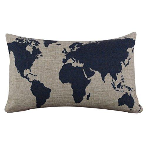 Oubao Burlap lino azul oscuro mundo mapa decorativo funda para cojín funda de almohada