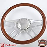 Flashpower 14'' Billet 4-slot Half Wrap 9 Bolts Steering Wheel with 2'' Dish and Horn Button (Walnut Wood)