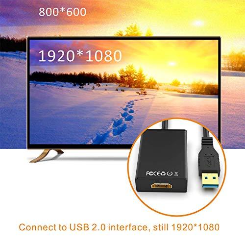 GANA USB zu HDMI Adapter, USB 3.0/2.0 zu HDMI Audio Video Adapter, HD 1080P Video Grafikkabel Konverter für PC, Laptop HDTV TV kompatibel mit Windows XP/10/8/7 - Schwarz