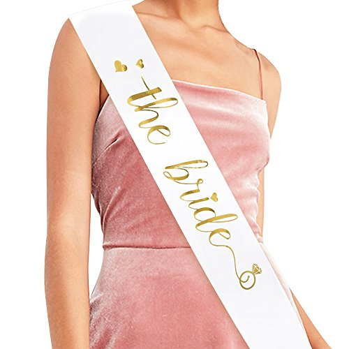 The Bride Sash - Bachelorette Party Sash Bride to Be Sash Bridal Shower Hen Party Wedding Decorations Party Favours Accessories (White with Gold Lettering)
