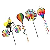 Baoblaze 4 Sets Bunte 3D DIY Windmühle Windrad Windspiel Kinder Spielzeug - 2 x Windmühle Windräder + 2 x Heißluftballon Windspiel