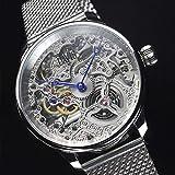 Davis - Herren Skeleton Uhr Mechanisch Skelett mit sichtbarem Uhrwerk Mesh Armband (Stahl) - 5