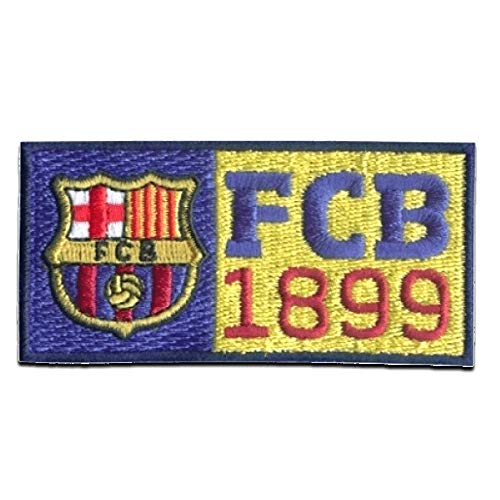 Parches - FC Barcelona 'FCB 1899' - amarillo - 8x4cm - termoadhesivos bordados aplique para ropa
