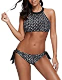 Ocean Plus Mujer Cordón Cuello Alto Bikini Malla Conjunto Camiseta sin Mangas Ropa de Playa Dos Piezas Tankini (XL (EU 38-40), Pajarita Puntos)