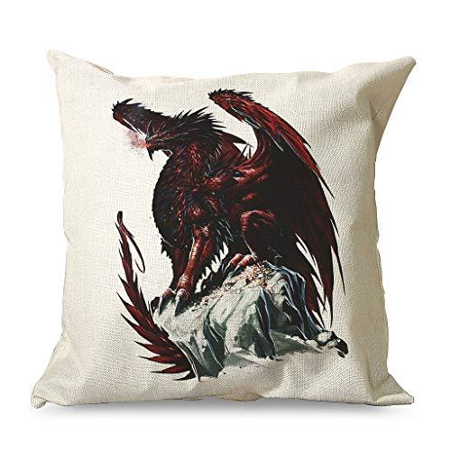 CCMugshop Funda de cojín decorativa vintage con diseño de dragón rojo y dorado, para cama blanca, 45 x 45 cm