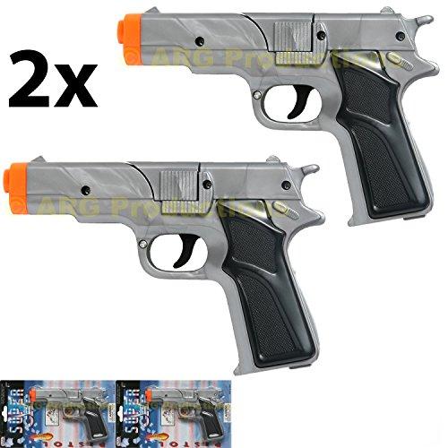 LOT OF 2 - SILVER CAP GUN PISTOL REVOLVER DETECTIVE POLICE COWBOY TOY COLT 45