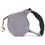 RONSHIN Automatic Retractable Pet Leash for Outdoor Dogs Walking Black and White Plaid 5 Meters 1.0 Wide