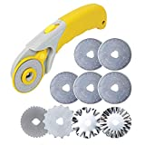 AUTOTOOLHOME 45mm Rotary Cutter Set with 9 Pack Replacement Rotary Blades Skip Rotary Blades Pinking Rotary Blades for Sewing Fabric Leather Quilting Cutter Paper Perforating Tool