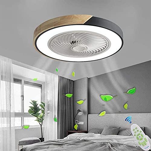 XKAI Ventilador de Techo LED con Luz Luces de Ventilador Silencioso Lámpara de Techo de Madera con Mando a Distancia,Regulable Ventilador Invisible con Lámpara para Dormitorio, 3000K ~ 6000K, 50cm
