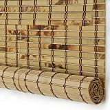 PASSENGER PIGEON Bamboo Window Blinds, Gently Filters Light into Room Roll Up Blinds Shades with Valance, 58' W x 36' L, Winthdrop Tortoise