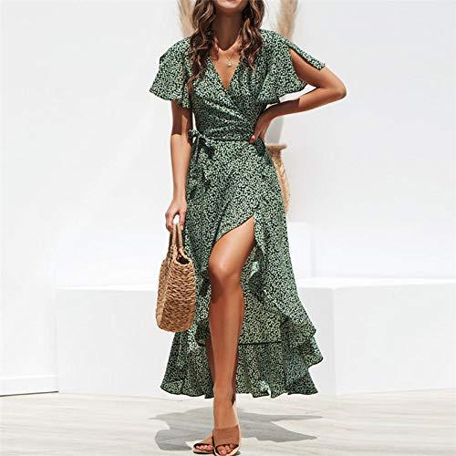 Femme Robe,Robe Longue Portefeuille À Imprimé Floral De Style Bohème Vert Fendue sur Le Côté, Vert, S