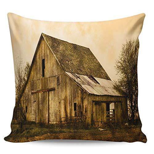 Winter Rangers Fundas de almohada decorativas, diseño retro de granero granero, casa dilatada, ultra suave, funda de cojín cuadrada cómoda para sofá dormitorio, 50,8 x 50,8 cm