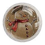 Perillas de cajón Tiradores Manija Hardware de armario Cajones de tocador de vidrio Gabinete de puerta para oficina en casa Armario de cocina Retro Lindos muñecos de nieve de Navidad