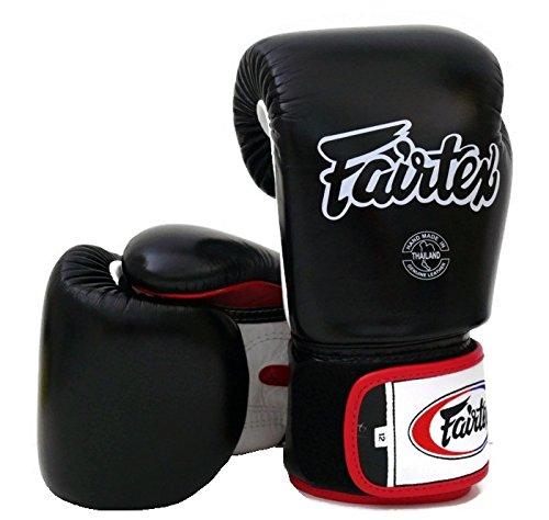 Fairtex Muay Thai Boxing Gloves BGV1 Black White Red Size: 10 12 14 16 oz Training & Sparring All Purpose Gloves for Kick Boxing MMA K1 Tight Fit Design (Black/White/Red, 16 oz)