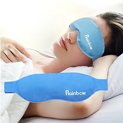 Gel Eye Mask Ice Pack, Hot Cold Compress Patch Reusable Sleeping Pad with Strap, for Puffy/Dry/ Cooling Eyes, Alleviate Swollen Eyes, Fatigue, Headache, Migraine, Fever, Neurosism Tension, Blue