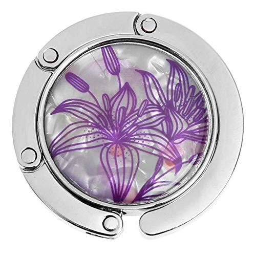 1Pc runde Metall Kleiderbügel Hakenhalter einzigartige Faltung tragbare Blumenmuster Modetisch Haken Kristalllegierung Geldbörse Handtasche Bag-B, USA