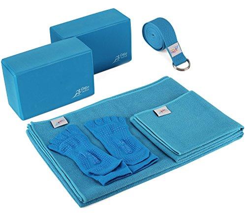 Go Go Active Yoga Accessories Set  Includes 2 Yoga Blocks 1 Microfiber Non Slip Mat Towel 72X24 1 Microfiber Hand Towel 24X15 1 Yoga Strap 1 Pair of Yoga Socks Blue