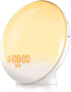 YABAE 目覚まし時計 光 大音量 目覚ましライトデジタル スヌーズ&ラジオ機能付き クロックラジオ アラーム ホワイトMY-09