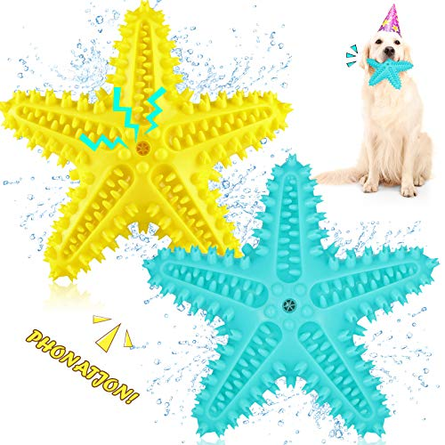 2 Pieces Starfish Dog Chew Toy Interactive Squeaky Dog Toothbrush Toys Durable Dog Teeth Cleaning Toys Starfish Dog Toys for Small Medium Dogs Puppy (Yellow, Blue)