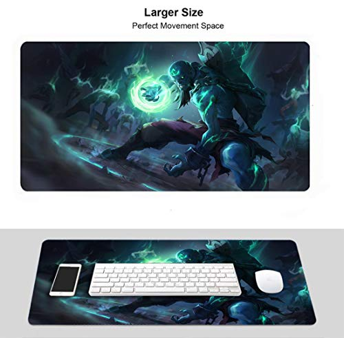 Extended Size Professional Gaming Mouse Pad for League Legends, Stitched Edges Ultra Thick 3Mm (Champion Ryze Zombie)