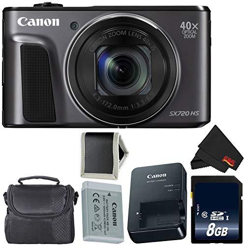 Canon PowerShot SX720 HS Digital Camera 1070C001 International Model + 8GB Memory Card + Carrying Case- Bundle