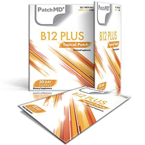 PatchMD B12 Energy Plus 30 Daily Topical Patches. 100% Natural & Vegan. Allergy & Filler Free. High Absorption More bioavailable. Suitable for Sensitive stomachs & bariatric.