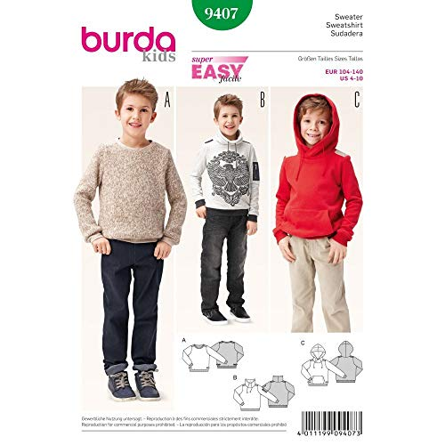 Burda 9407 Schnittmuster Sweater (kids, Gr. 104 - 140) Level 1 super easy