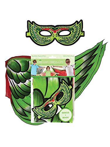 Dreamy dress-ups 66087 Vogel vleugel Plus masker speelset, groen, 2-delig