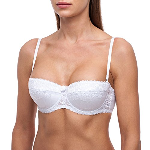 frugue Women's Strapless Pushup Bandeau Lace Sexy Bra