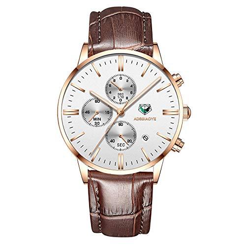 Reloj de Pulsera de Cuarzo para Hombre Reloj de Pulsera de Cuarzo analógico Resistente al Agua-A