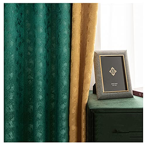 JUANstore Cortinas Sombreado Jacquard Color Sólido Engrosadas Parte Superior Ojal Ventana Cortinas Reductoras Ruido Costuras Verde Esmeralda,w175xL140cm