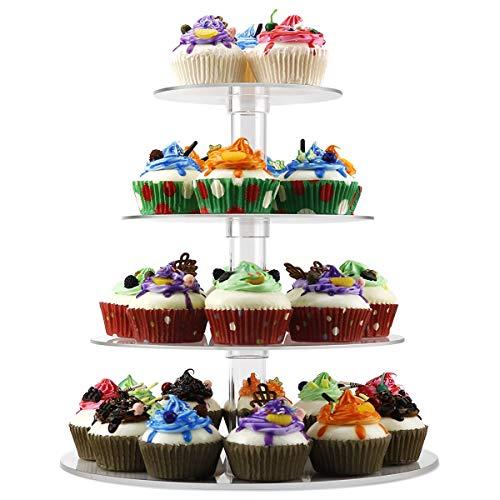 Queta Tortenständer Cupcake Ständer für Hochzeit, Party, Geburtstag, Baby Duschen & Kuchen Dessert, 4-stöckig Acryl, 15cm/ 18.7cm / 22.5cm/ 26.3cm Durchmesser