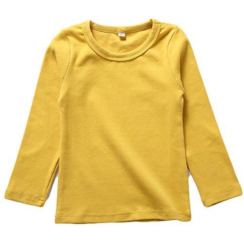 BINIDUCKLING Kids Basic Top Mädchen Jungen Langarm-T-Shirt, Gelb, 4T