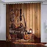 QWEFGDF Cortinas Aislantes TermicasPara Cocina, Dormitorio, salón, Moderno, con Perforaciones, Aislamiento térmico. 2 x L117 x A138cmguitarra