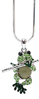 Lola Bella Gifts Crystal Frog Playing a Flute Pendant Necklace with Gift Box