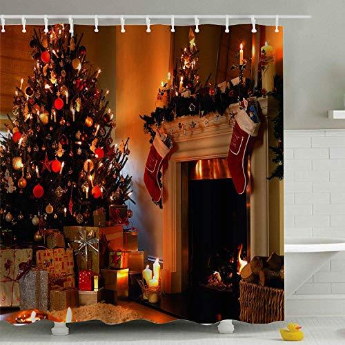 VinMea Kerstavond douchegordijnenset, kerstboom open haard met kasten geschenken seizoensgebonden polyester waterdichte stof met haken