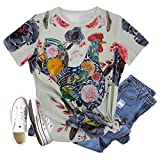Womens Farm Shirts Tie Dye Chicken Graphic Tees Short Sleeve Country Animal Tops (C-Grey, M)