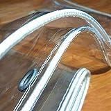 GJSN - Lona multiusos para exteriores, impermeable, transparente con bordes reforzados (blanco), resistente al polvo, resistente a la lluvia para muebles de jardín, 0,5 mm - 2 x 2,5 m