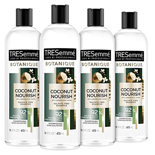TRESemmé Botanique Shampoo for Dry, Frizzy Hair Botanique Coconut Nourish 92% Derived Natural Materials with Professional Performance for dry hair 16 oz 4 Count