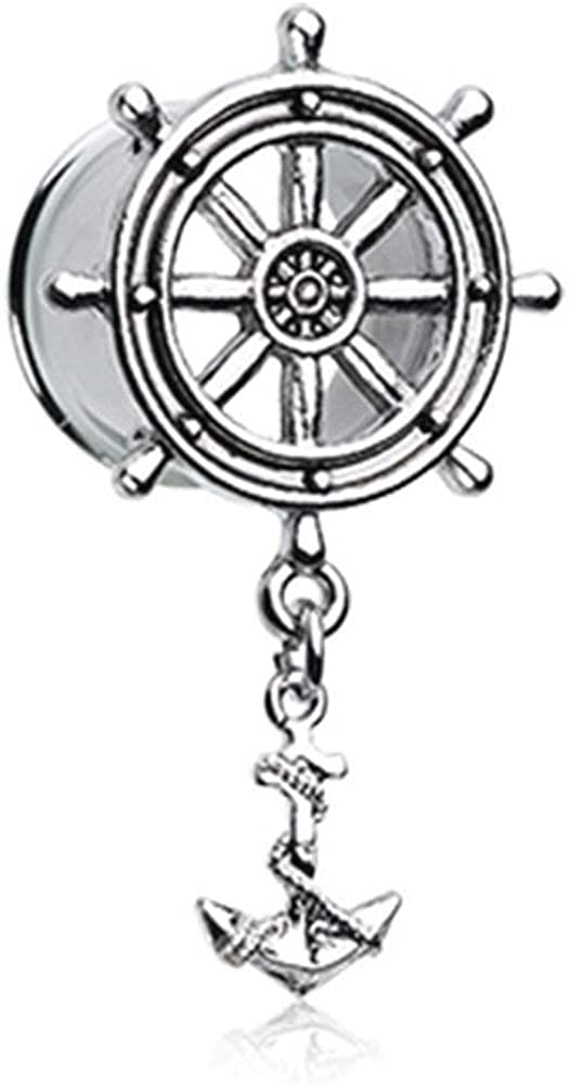 Covet Jewelry Classic Anchor Wheel with Dock Ear Gauge Tunnel Plug