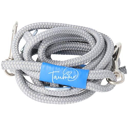Taumur Geimthoka - zweifach verstellbare Hunde-Tauleine - grau - Leine für mittelgroße Hunde aus robustem PPM