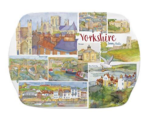 Yorkshire–Emma Ball Multicolor bandeja de melamina Picnic/plato–35cm–Yorkshire regalo de recuerdo