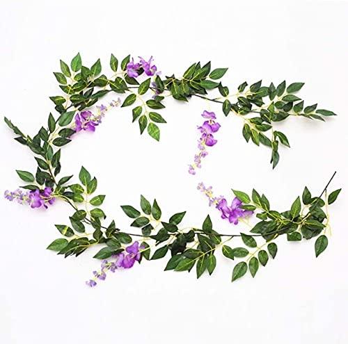 2M Wisteria Flores Artificiales Guirnalda De Vid Plantas Falsas Follaje Ratán Trailing Flores De Imitación Ivy Wall Wedding Arch Decoration - púrpura