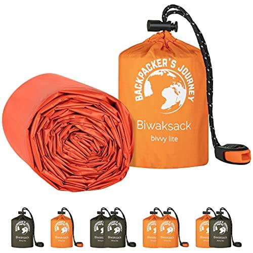 Backpacker's Journey NEU Biwaksack, ultraleichter und wasserdichter Notfallschlafsack. Ideal für Camping, Wandern und Abenteuer (orange 2er Set)
