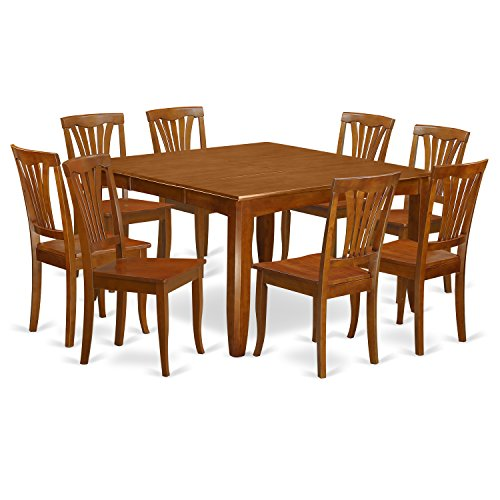 PFAV9-SBR-W 9 Pc Dining room set for 8-Square Table with Leaf and 8 Dining Chairs